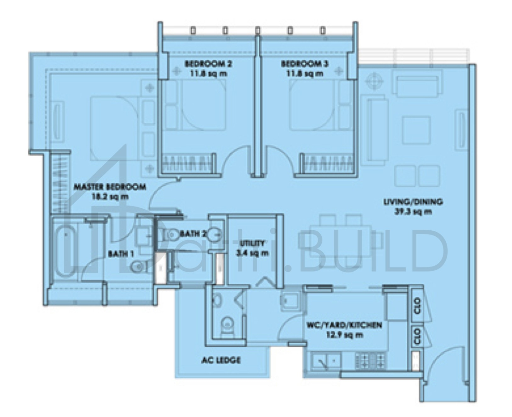 City Square Residences 3 Bedroom Type C1j