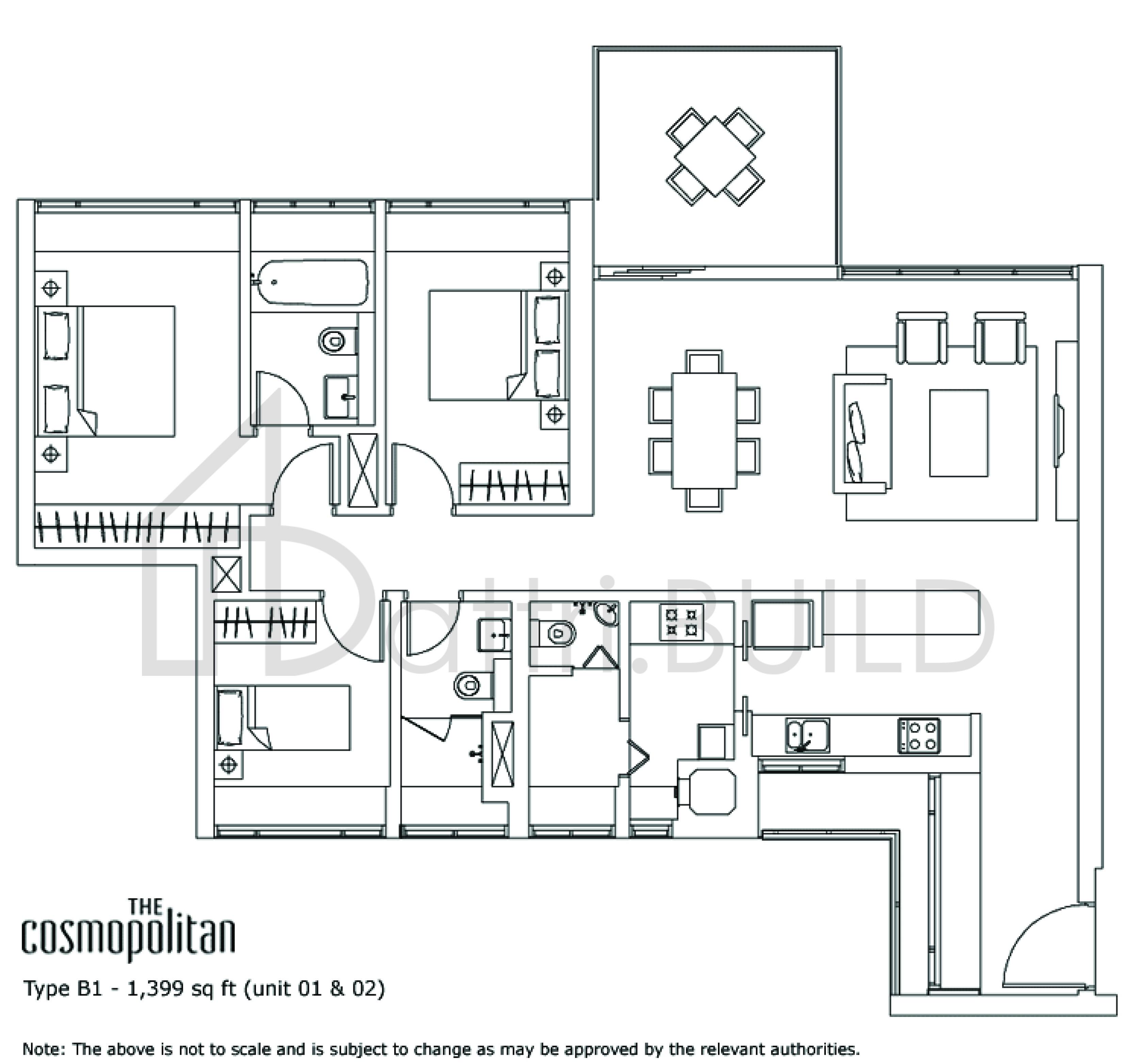 The Cosmopolitan 3 Bedroom Type B1