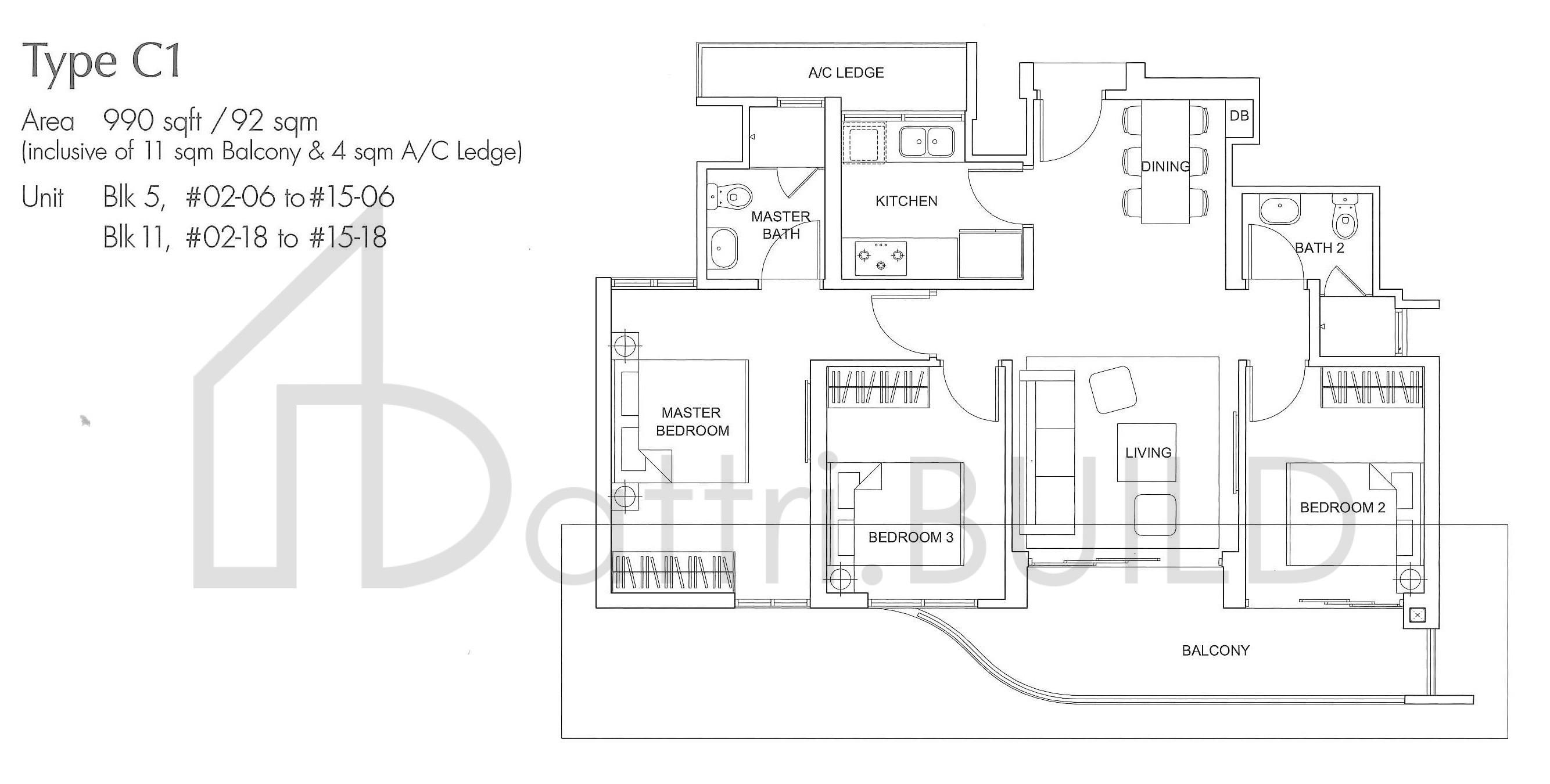 Arc At Tampines 3 Bedroom Type C1