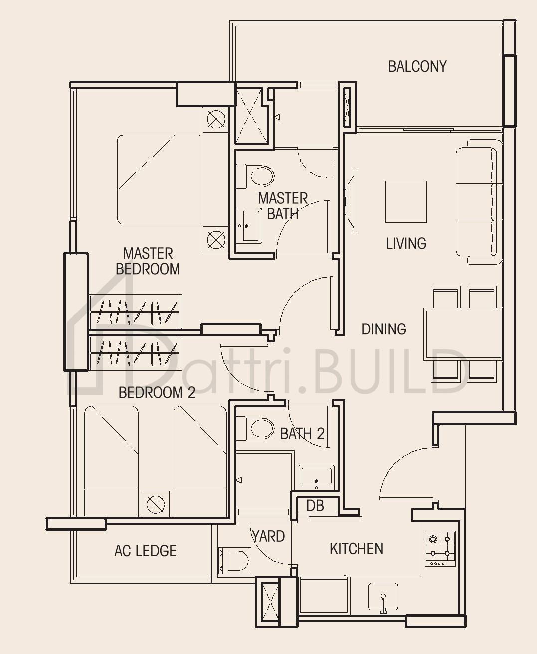 Auralis 2 Bedroom Type B1