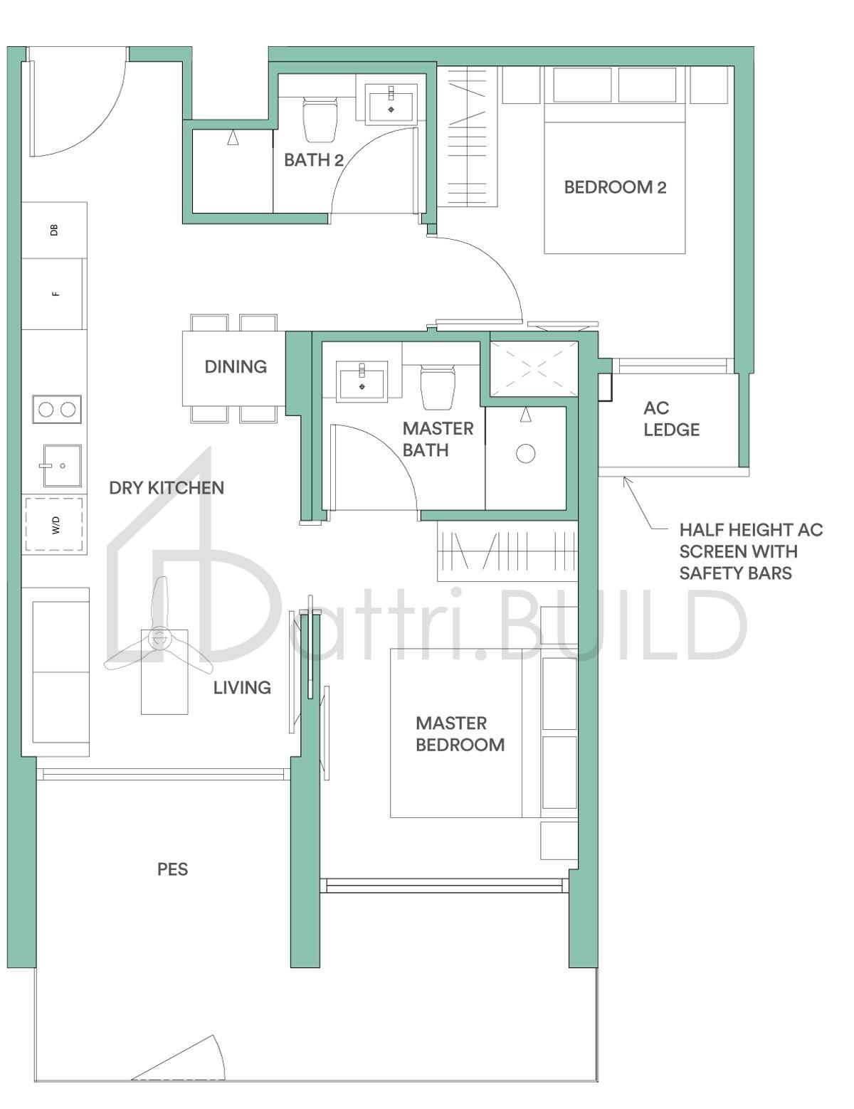 Park Place Residences At Plq 2 Bedroom Type C2pb