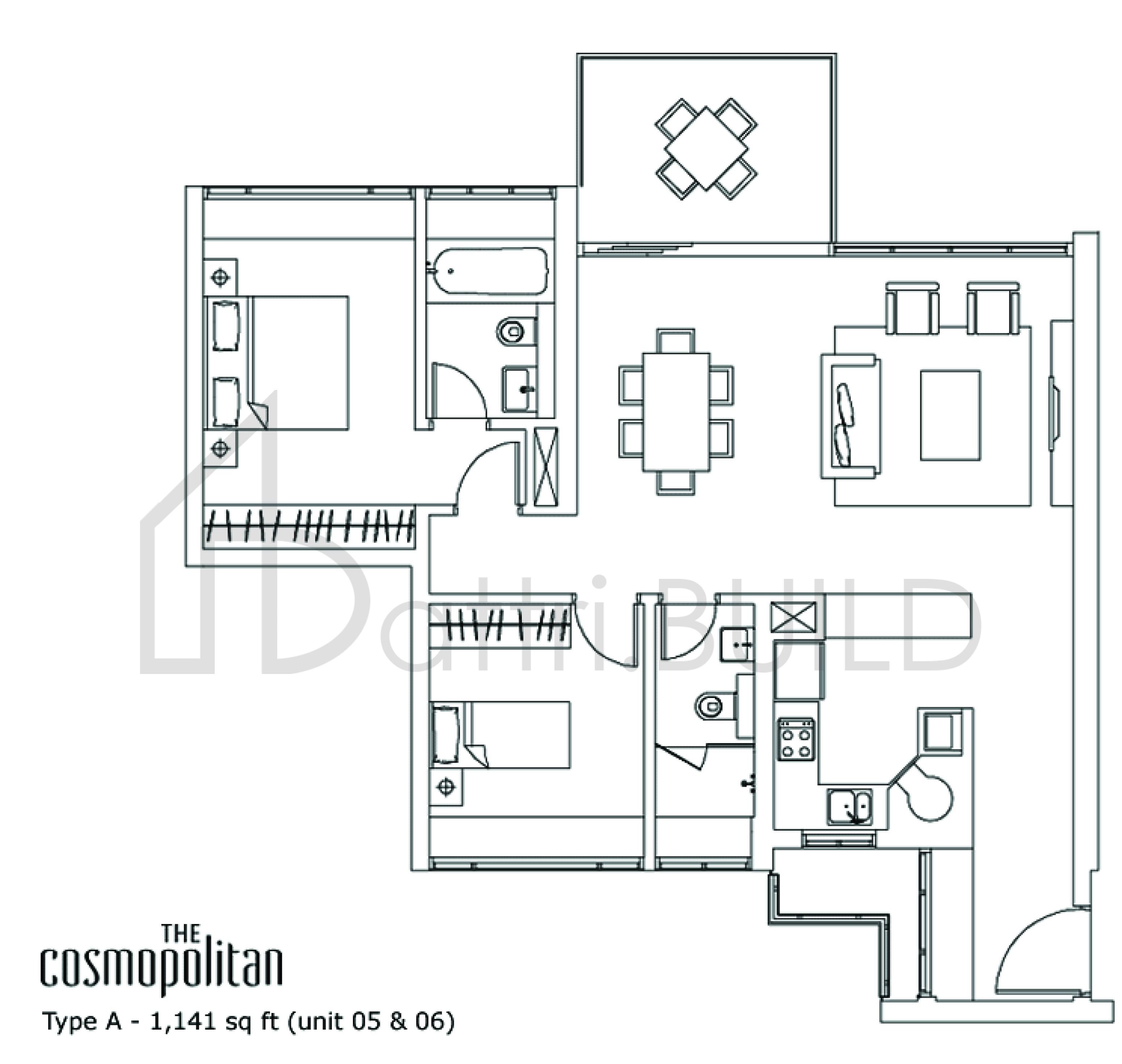 The Cosmopolitan 2 Bedroom Type A